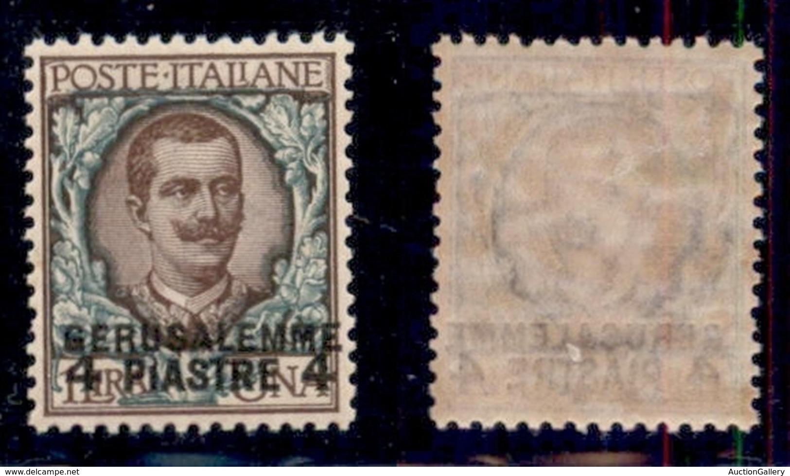 UFFICI POSTALI ALL'ESTERO - Levante - Gerusalemme - 1909 - 4 Piastre Su 1 Lira (6) - Gomma Originale - Ottima Centratura - Stamps