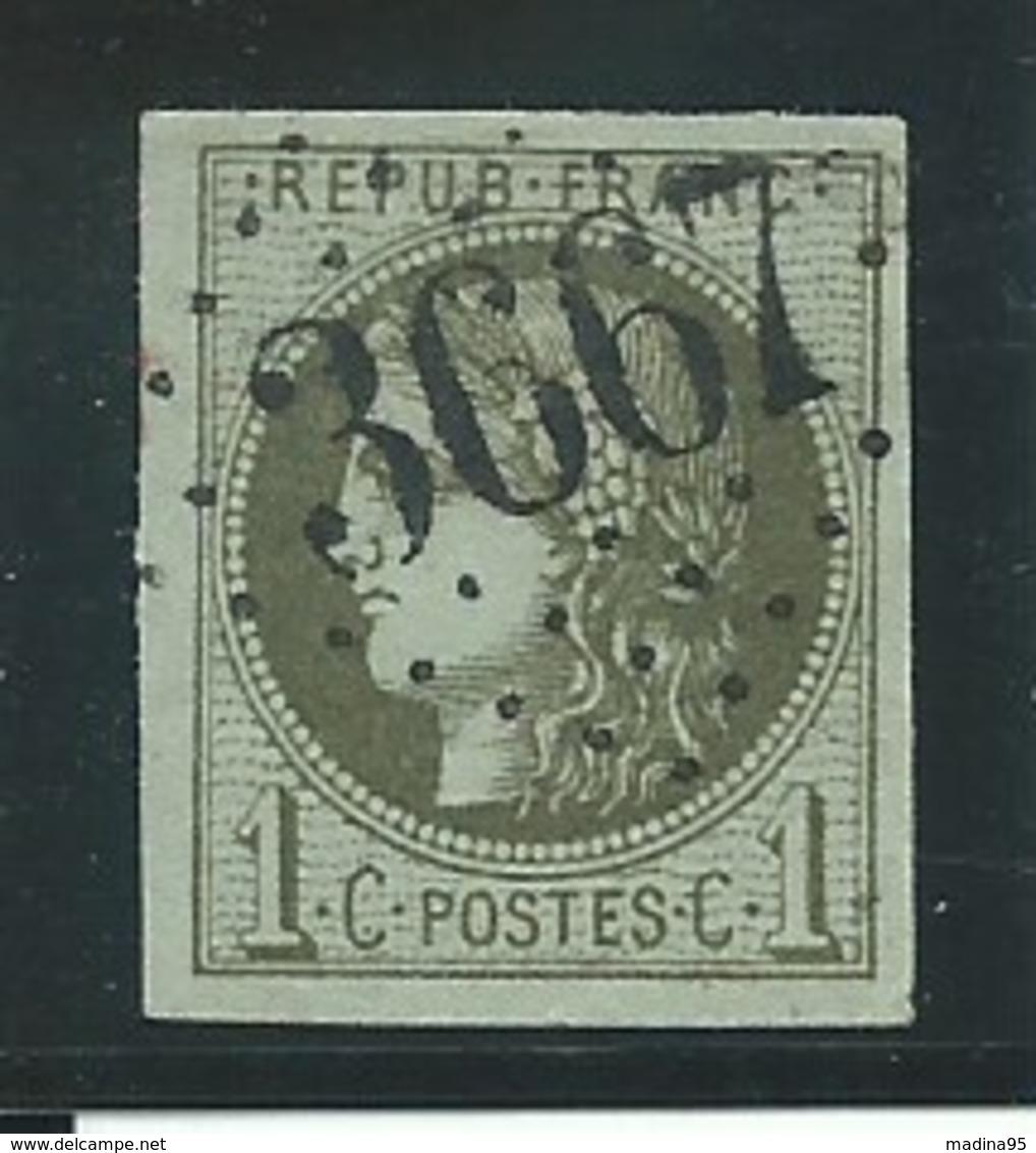 FRANCE: Obl., N° YT 39Ab, Oliv Foncé, Rep.1, Signé Calves, TB - 1870 Emission De Bordeaux