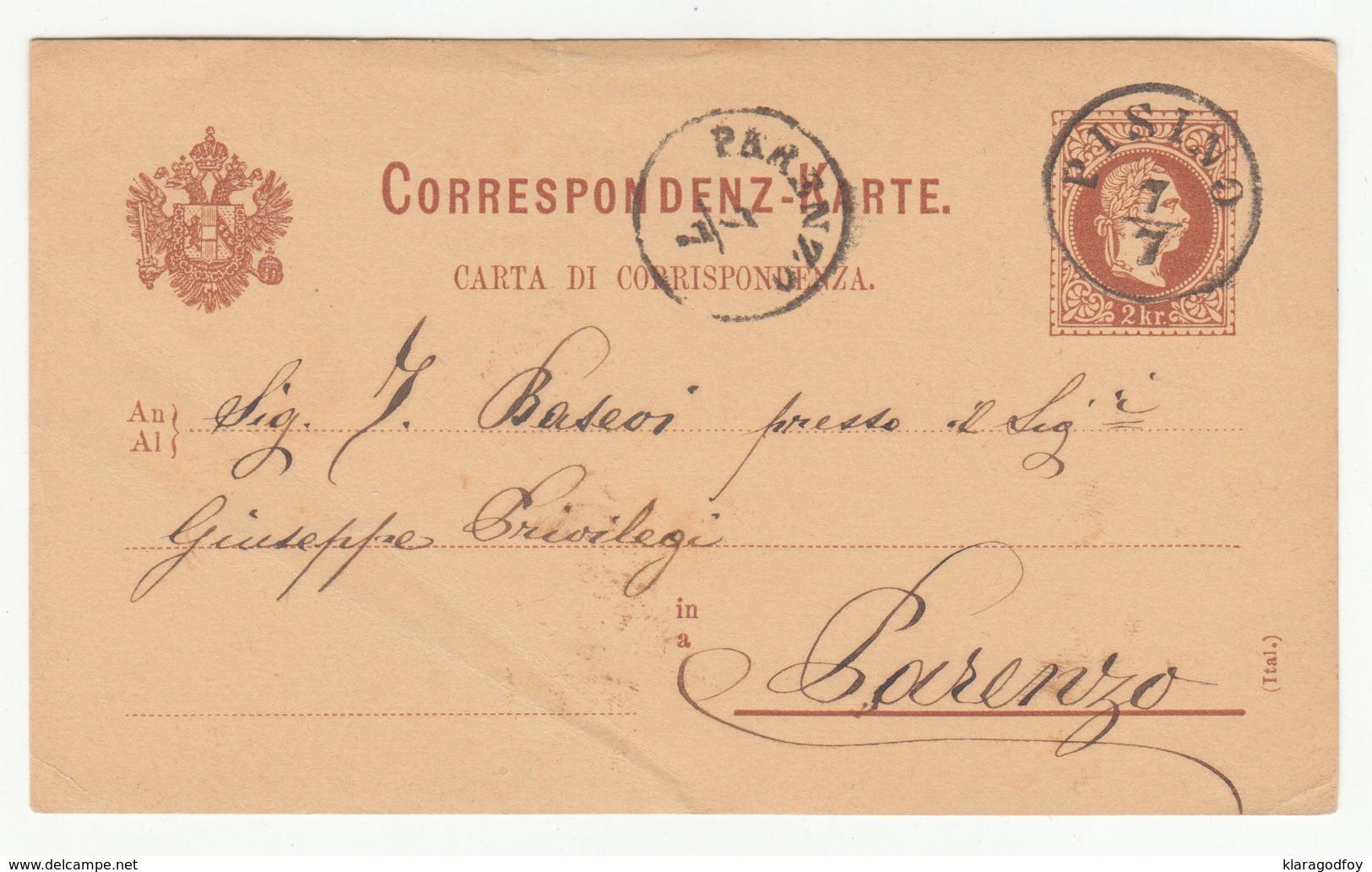 Austria Italian Postal Stationery Postcard Carta Di Corrispond. Travelled 1882 Pisino (Pazin) To Parenzo (Poreč) B190715 - Croatia
