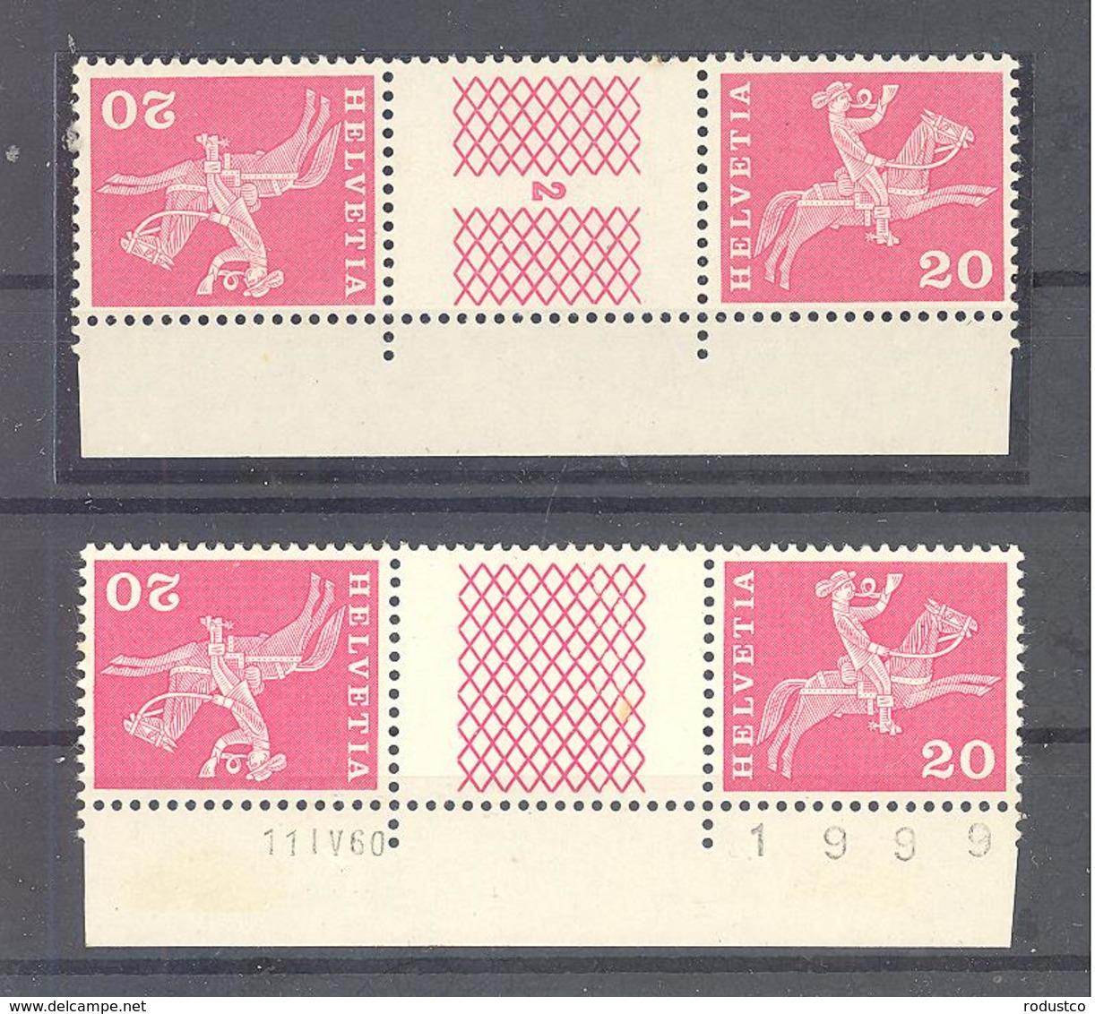 Schweiz / Helvetia  Michel #  698 **  2 X 3-er Streifen - Kisten Für Briefmarken