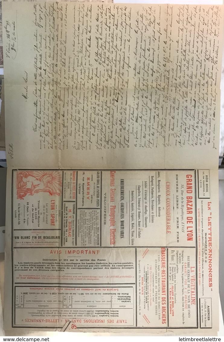 France, Entier Postal, Enveloppe Lettre Annonce, Rue Molière à Lyon, Nombreuses Pub, A Voir, Jolie - Autres
