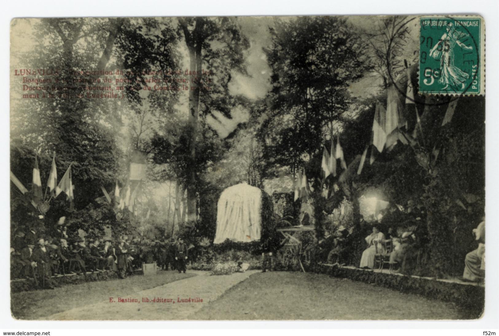 LUNEVILLE - Inauguration Du Monument élevé Dans Les Bosquets à La Mémoire Du Poète Charles GUERIN, édition Bastien - Luneville
