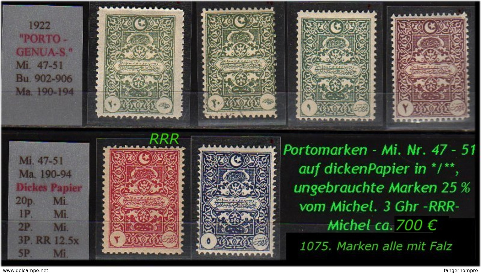 EARLY OTTOMAN SPECIALIZED FOR SPECIALIST, SEE....Porto - Mi. Nr. 47 - 51 - Mit Nr. 50 Dickes Papier -RR- - Nuevos