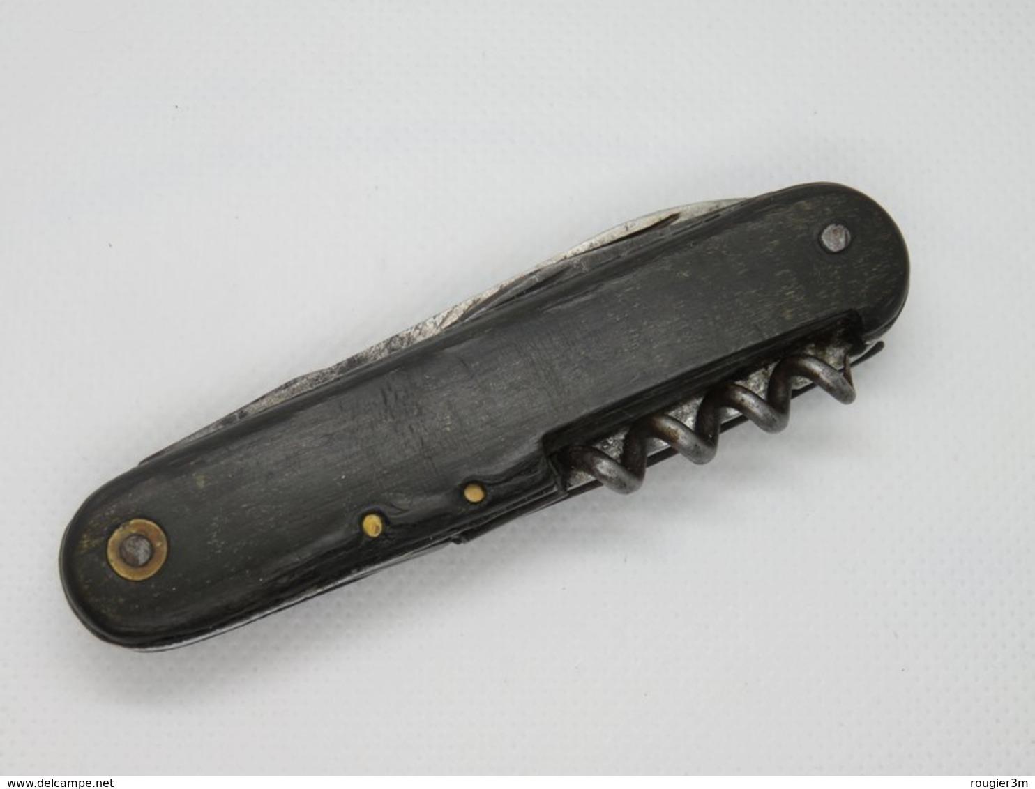 444 - Ancien Couteau De Poche Multifonction - Maubert - Corne Teintée - Messen