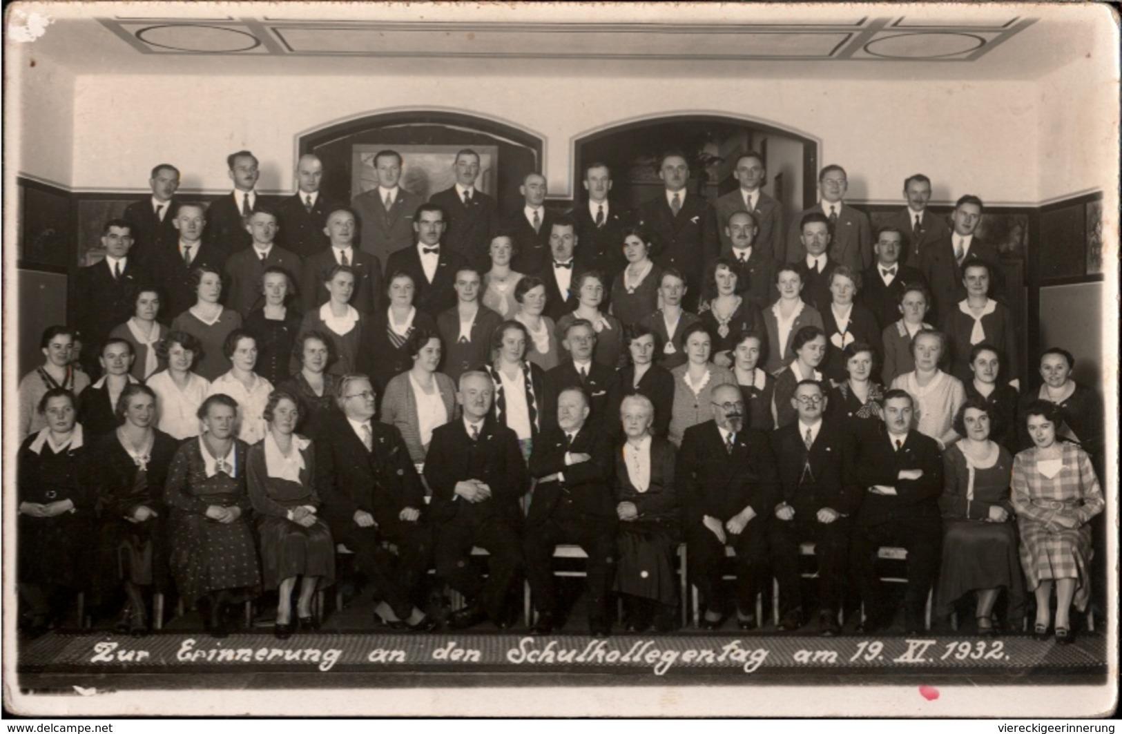 ! Seltene Fotokarte , Photo, Rumburk, 1932 Schulkollegentag, Photographenstempel Oberhennersdorf, Sudetenland - Sudeten