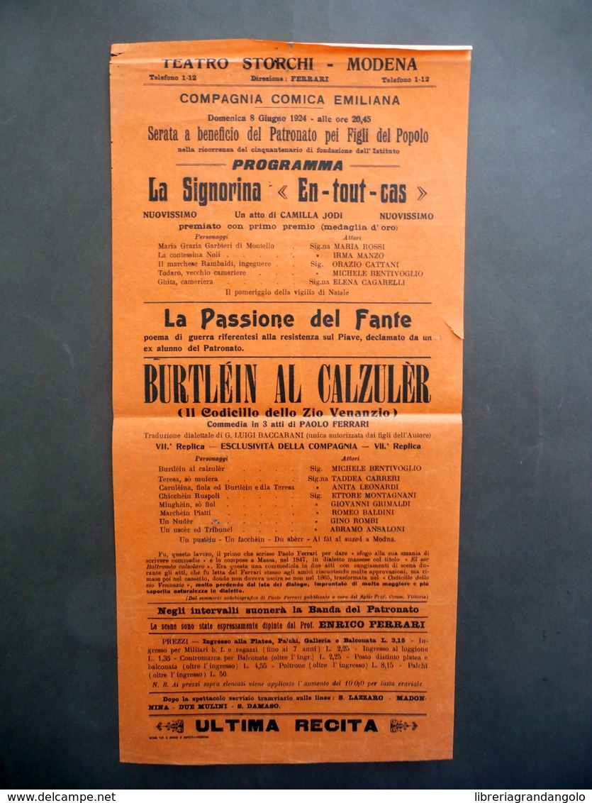 Locandina Teatro Storchi Modena Burtlein Al Calzuler Paolo Ferrari 1924 - Non Classificati