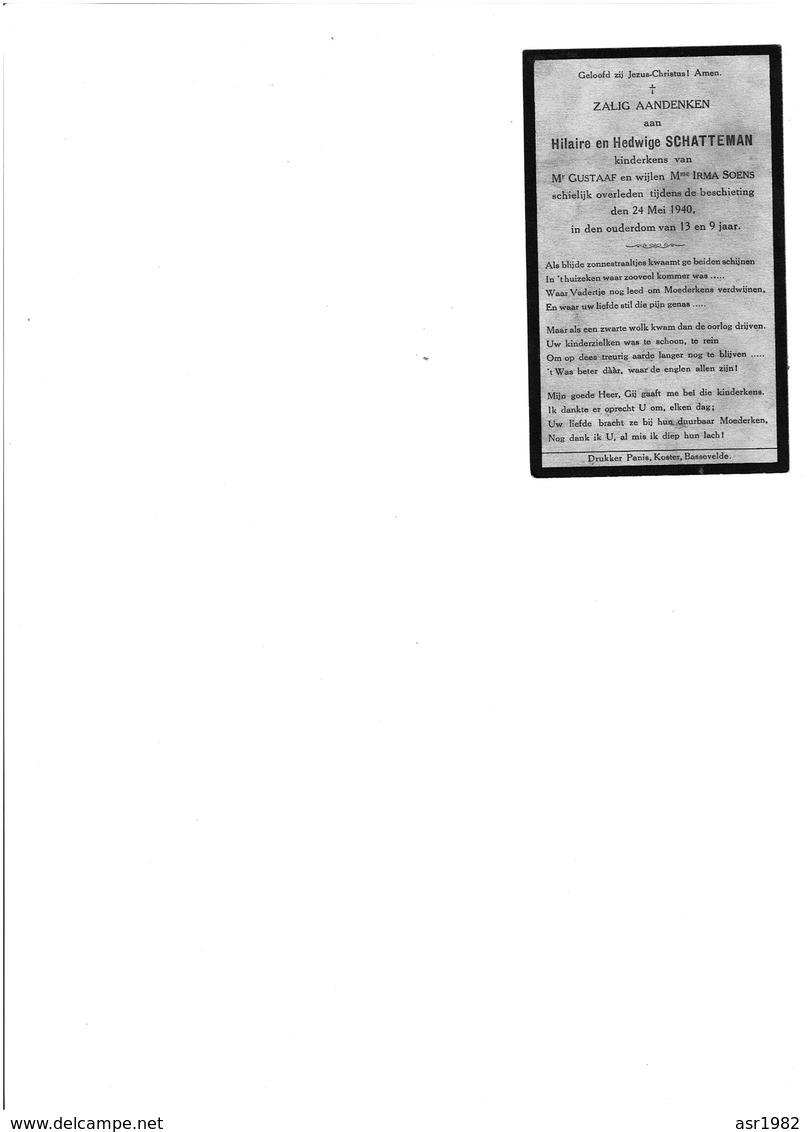 Doodsprentje Oorlogsslachtoffers Bassevelde : Beschieting 24 Mei 1940 , 13 En 9 Jaar Oud . - Religion & Esotericism