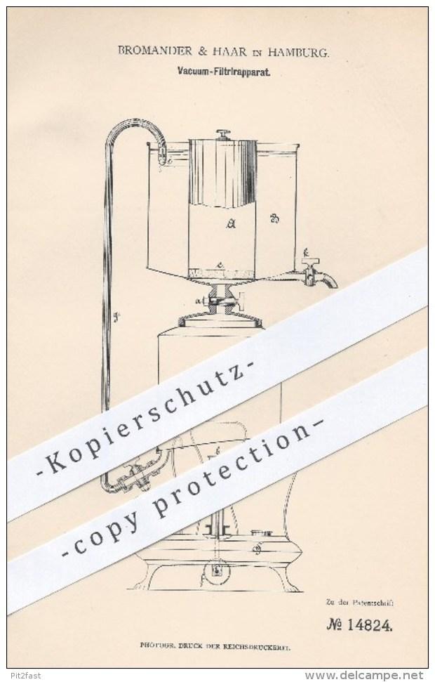 Original Patent - Bromander & Haar In Hamburg , 1881 , Vakuum - Filtrierapparat | Filtration , Filter , Wasser , Brenner - Historische Dokumente