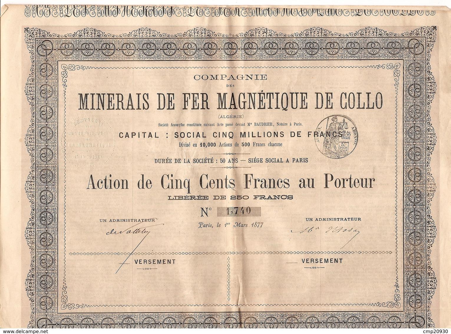 Cie Des Minerais De Fer De Collo (Algérie) - Action 500 F 1877 N° 1740 - Aandelen