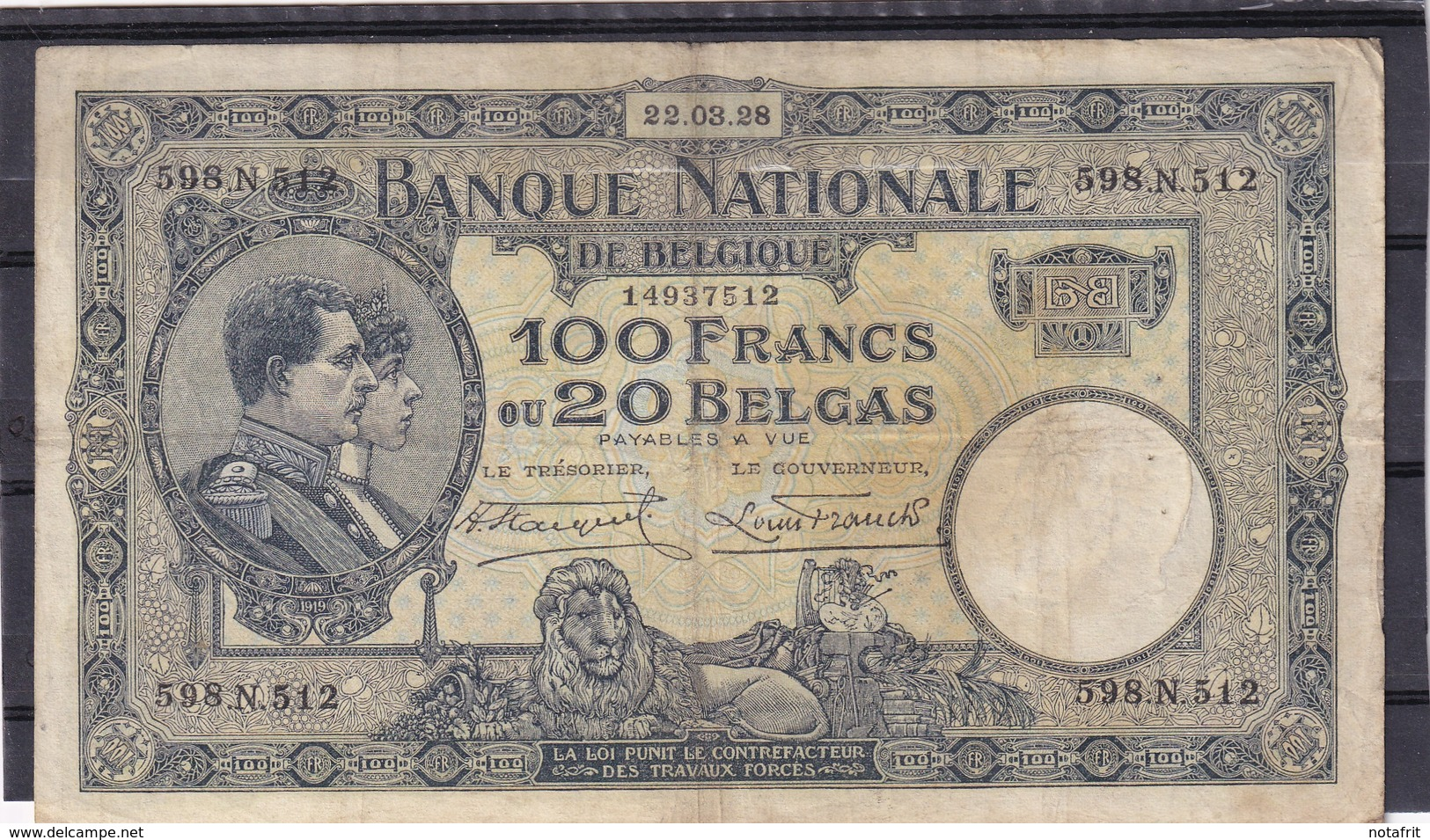 Belg 100 Fr 1928  F - [ 2] 1831-... : Regno Del Belgio