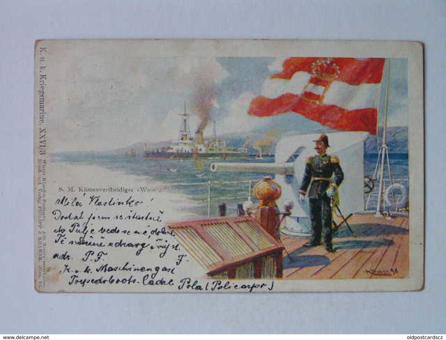K.U.K. Kriegsmarine Marine  SMS 1092 SMS Wien 1915 Wiener Kunstler Postkarte Ed Philipp I Kramer - Krieg