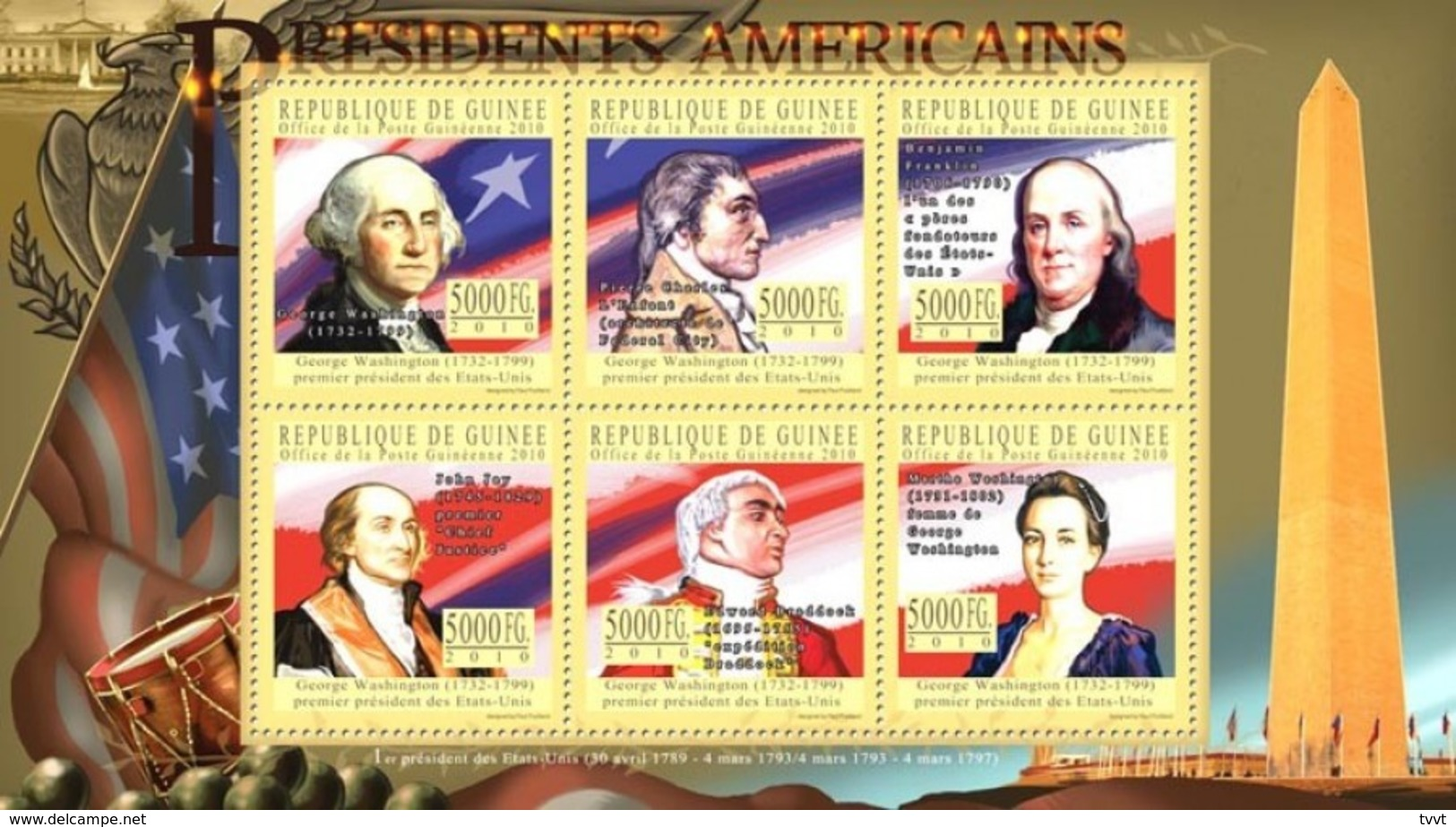Guinea, 2010. [gu10405] US Presidents, George Washington,( 1732-1799 ) (s/s+block) - George Washington