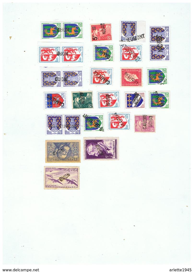 LOT TIMBRES ANNULES à L'ARRIVEE PAR UN CACHET MUET - Marcophily (detached Stamps)