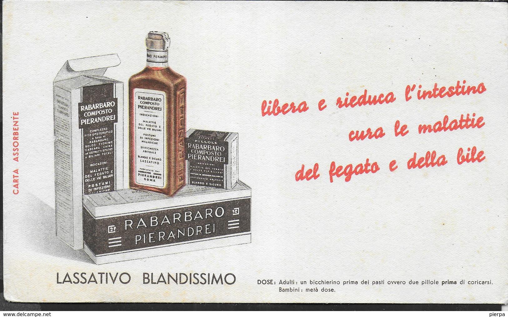 PUBBLICITA' - RABARBARO PIERANDREI - SU CARTA ASSORBENTE NUOVA - 21,50X12 - F