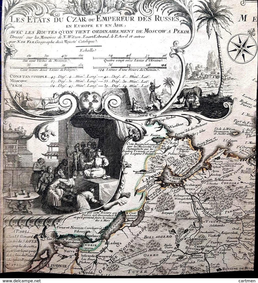 RUSSIE RUSSIA ATLAS MAP CARTE GEOGRAPHIQUE ANCIENNE PAGE DE TITRE DECOUPEE FRONTISPICE GRAVE 18° - Geographical Maps