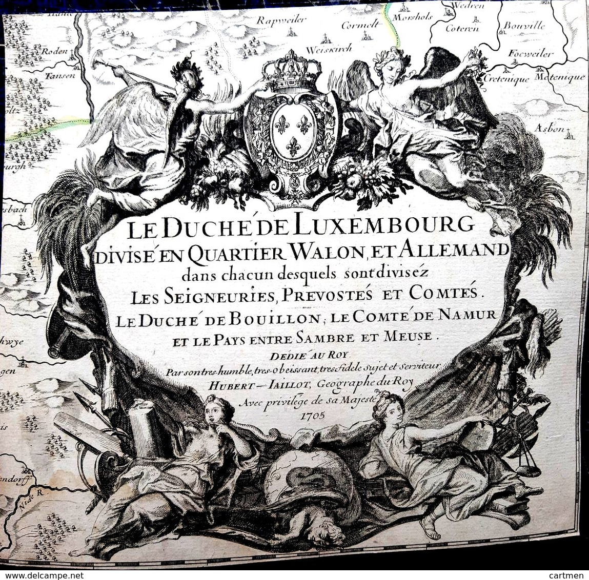 LUXEMBOURG ATLAS  MAP CARTE GEOGRAPHIQUE ANCIENNE PAGE DE TITRE DECOUPEE FRONTISPICE GRAVE 18° - Geographical Maps