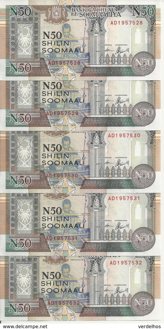 SOMALIE 50 SHILLINGS 1991 UNC P R2 ( 5 Billets ) - Somalia
