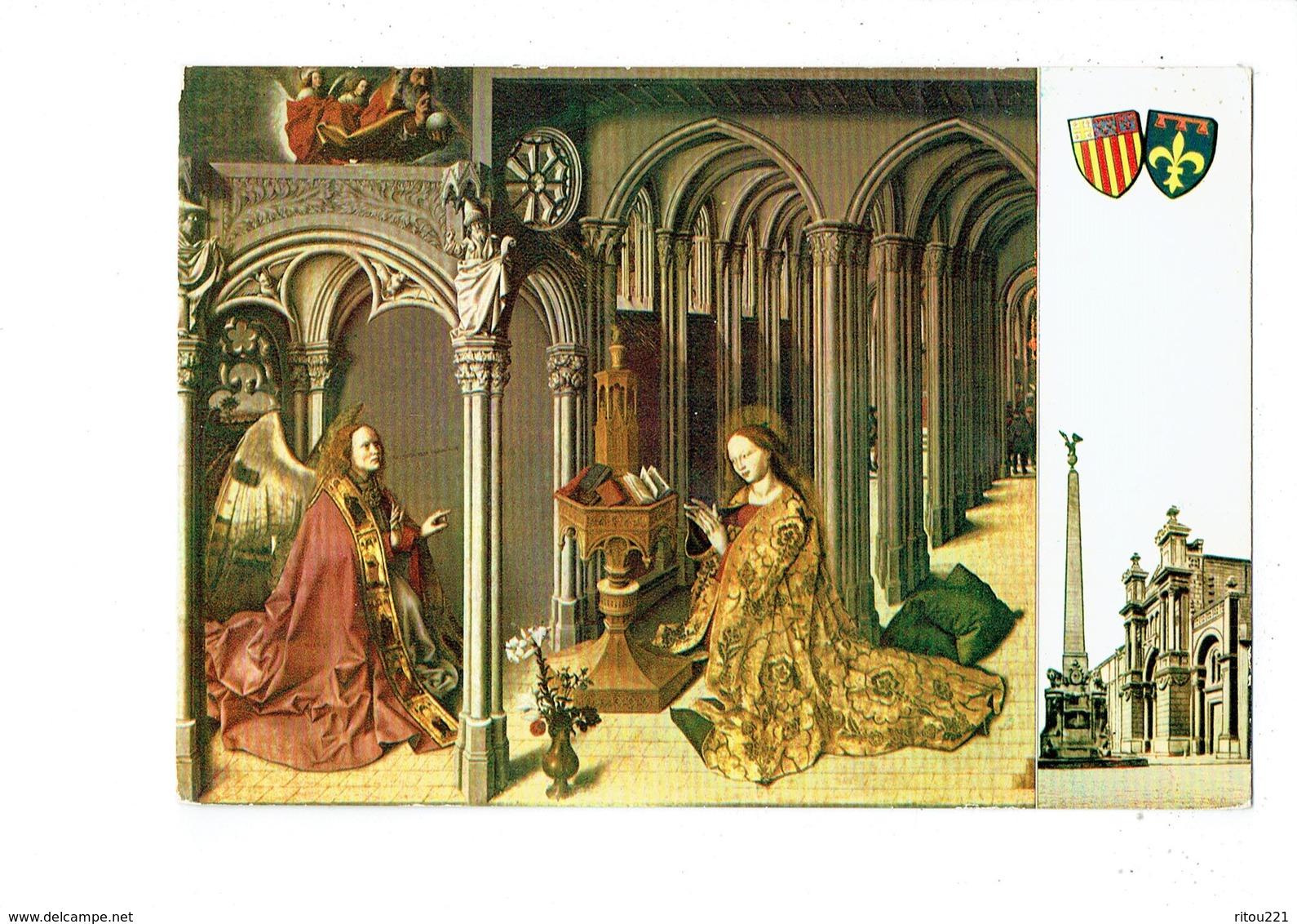 Cpm - 13 - Aix En Provence - Eglise Ste Marie Madeleine Triptyque Annonciation - Blason Ange Femme Prière Chauve-souris - Aix En Provence