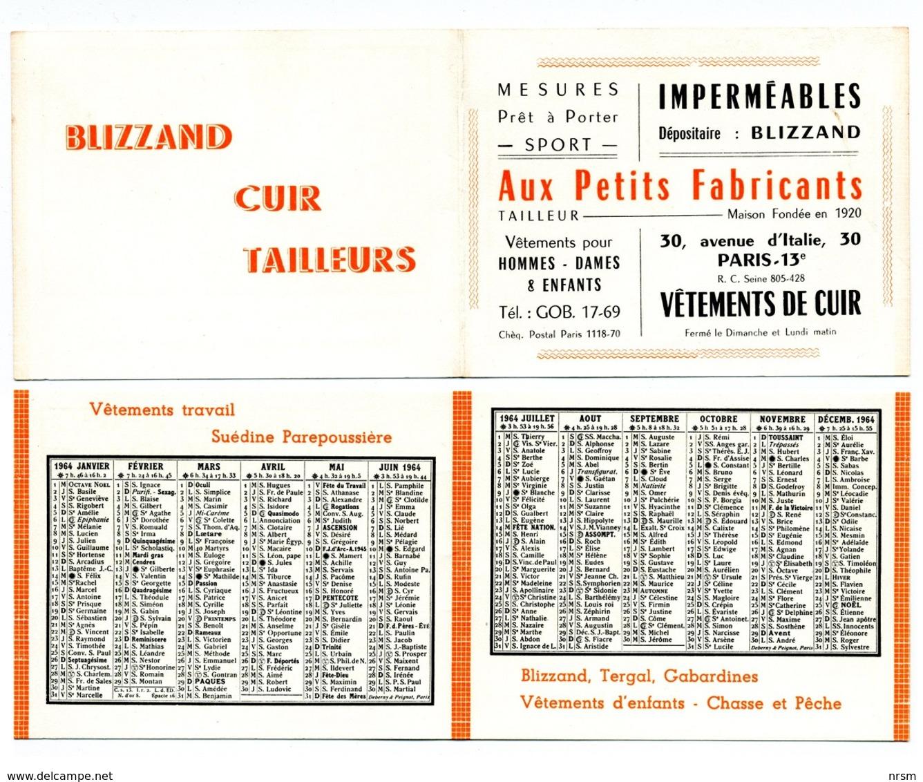 Calendrier 1964 - Aux Petits Fabricants (PARIS) / Vêtements - Petit Format : 1961-70
