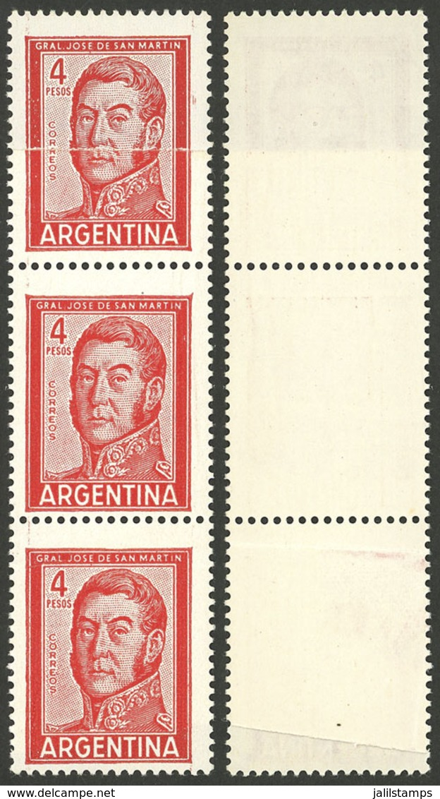 ARGENTINA: GJ.1139A, 4P. San Martín, Typographed, On Glazed Paper, Strip Of 3 With End-of-roll Double Paper Variety, VF - Argentina