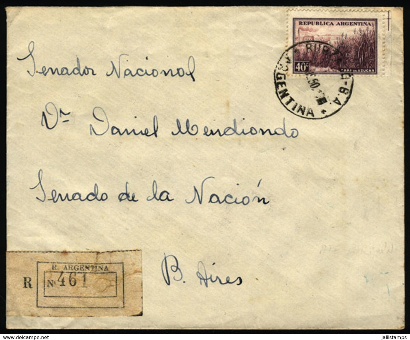 """ARGENTINA: Cover Sent From """"BURZACO"""" (Buenos Aires) To Buenos Aires City In JA/1950, VF Quality"""" - Argentina"""