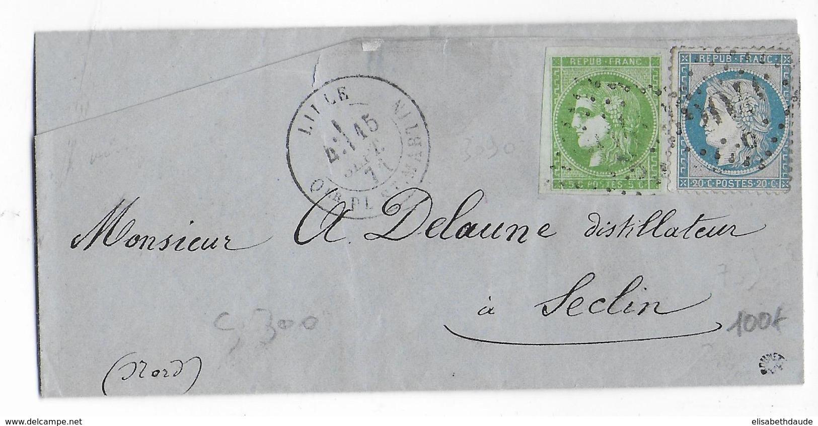 SEPT 1871 - AFFRANCHISSEMENT MIXTE BORDEAUX (SUP) / SIEGE - LETTRE De LILLE (NORD) => SECLIN - Postmark Collection (Covers)