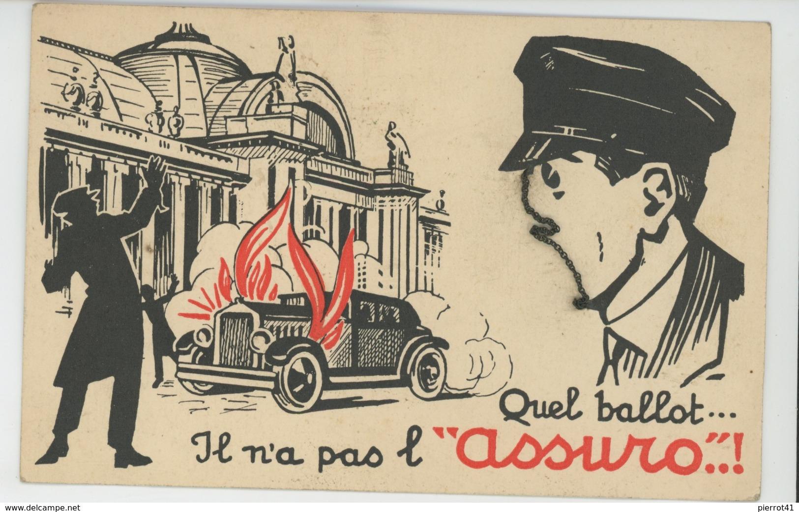 """PUBLICITE - Belle Carte PUB Pour EXTINCTEUR POUR AUTOMOBILES """"ASSURO """" (petite Chaînette Mobile Pour Visage Homme ) - Publicité"""