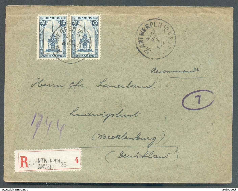 Lettre Recommandée Affr.  Perron De Liège à 50c.. Obl. Sc Agence ANTWERPEN 25 * Du 22-I-1921 Vers Mecklembourg - 14381 - Postmarks With Stars