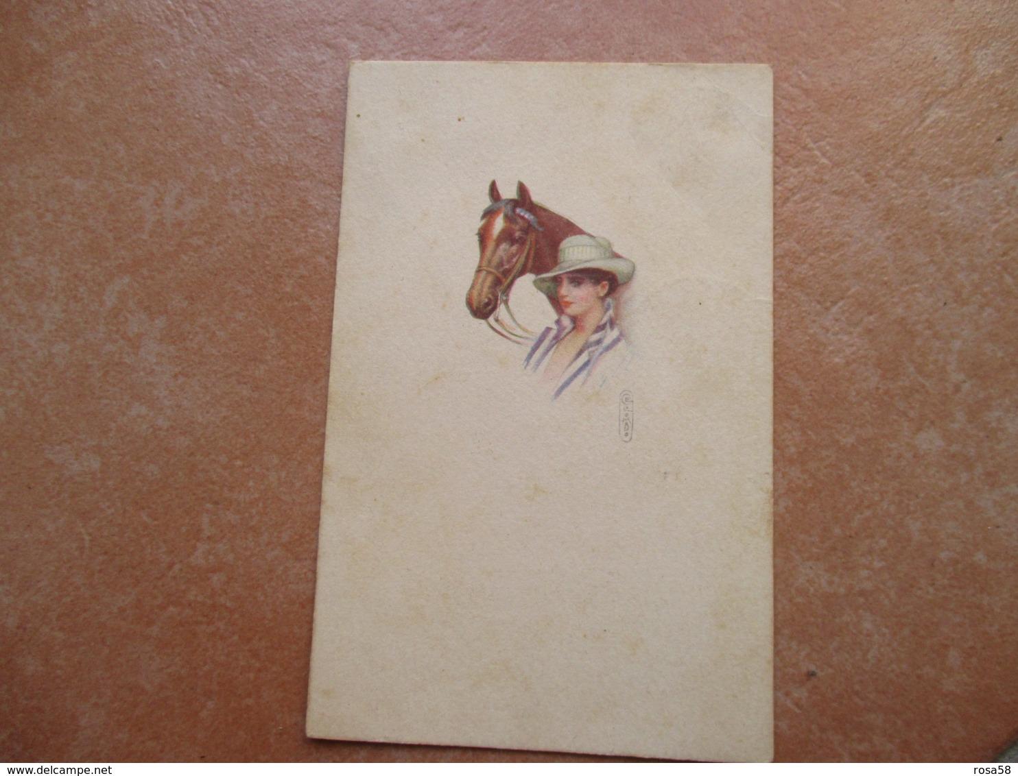 1922 Donna Cavallo Cappello Hat Woman Illustratore COLOMBO - Colombo, E.