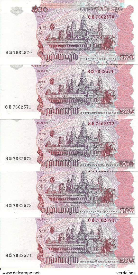 CAMBODGE 500 RIELS 2004 UNC P 54 B ( 5 Billets ) - Cambodia