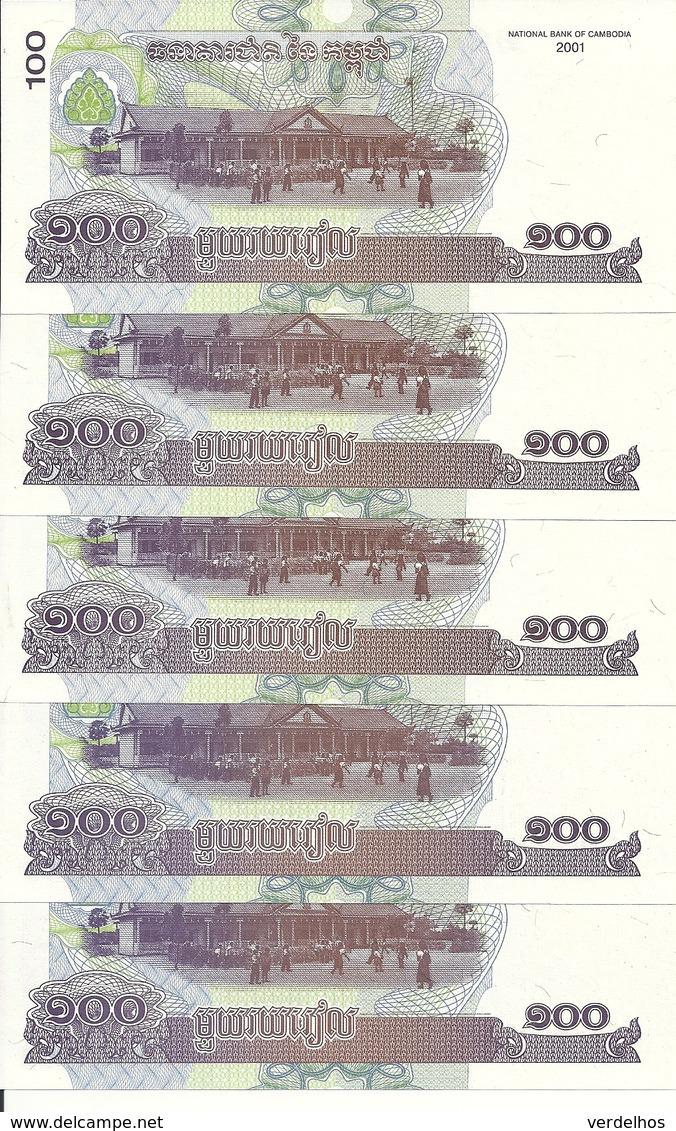 CAMBODGE 100 RIELS 2001 UNC P 53 ( 5 Billets ) - Cambodia