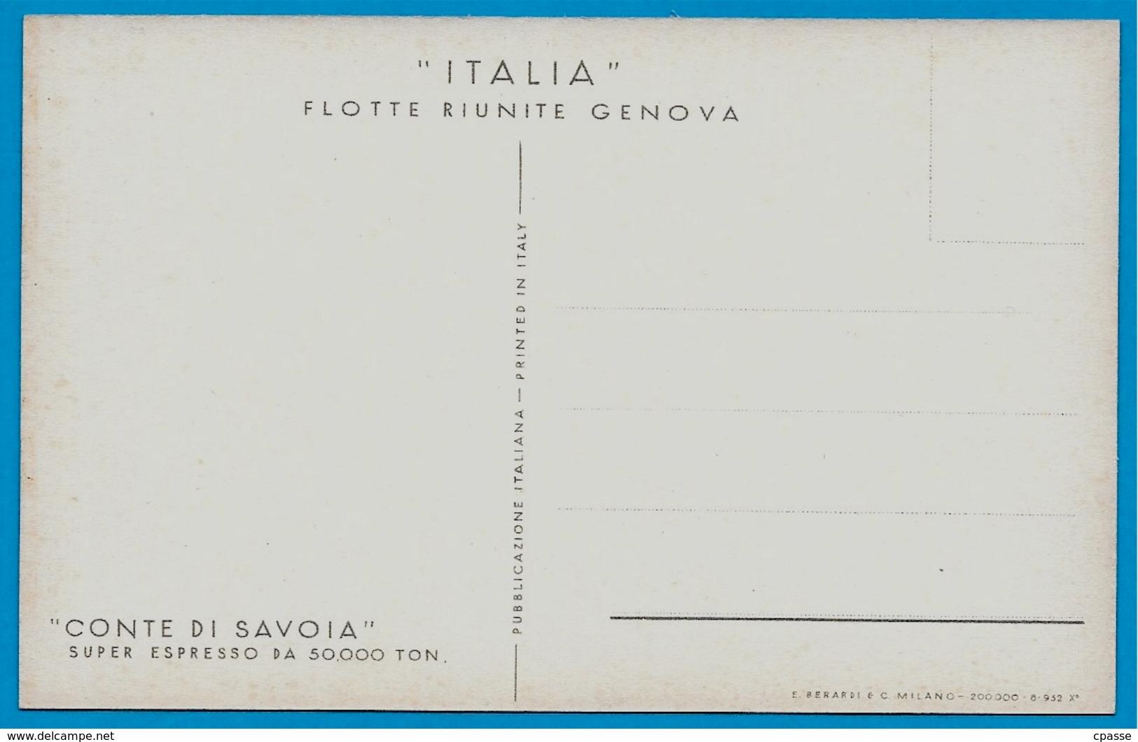 """CPA Bateau PAQUEBOT """"CONTE DI SAVOIA"""" Super Espresso Flotte Riunite GENOVA Italia * Ship - Paquebots"""
