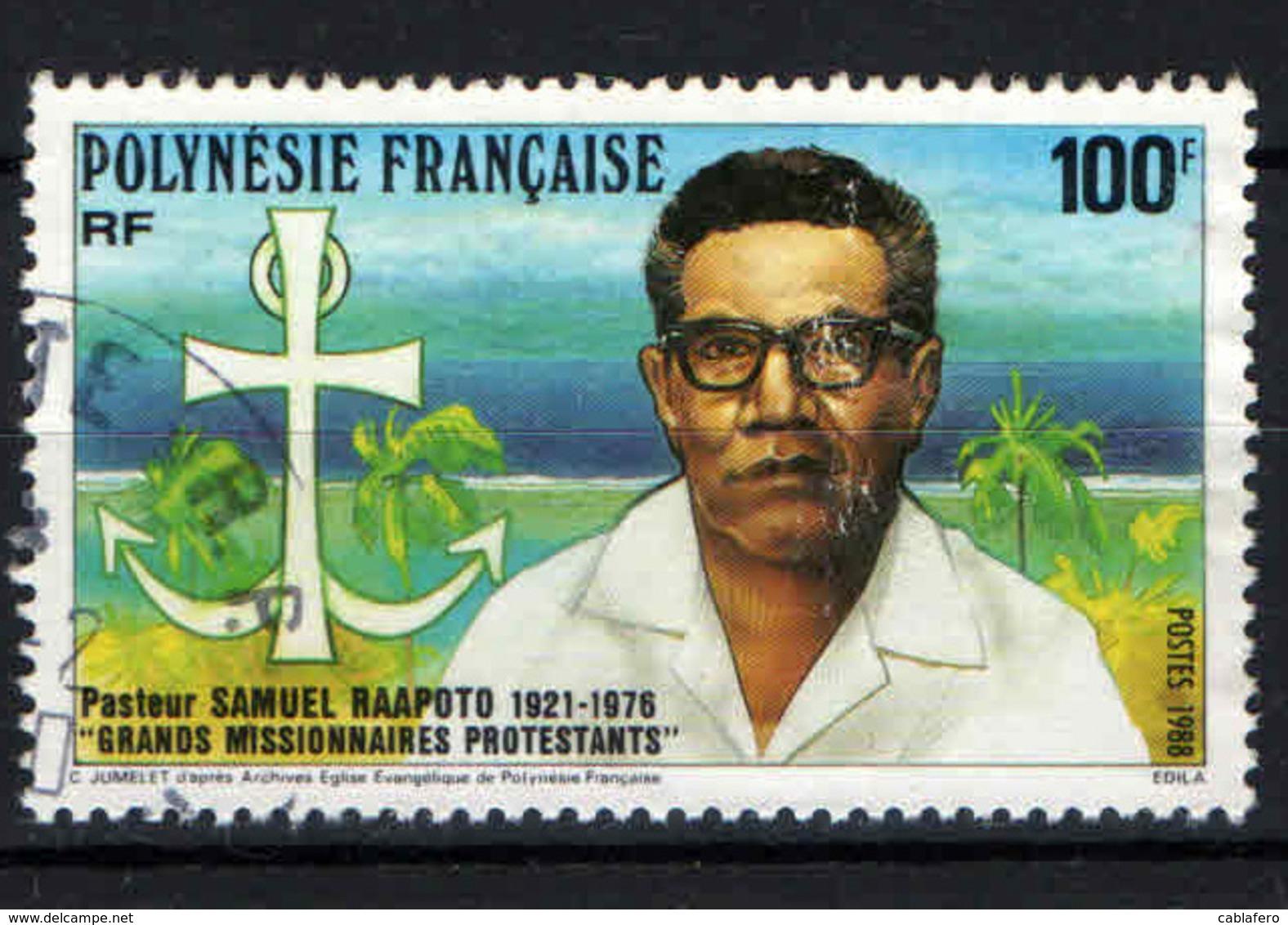 POLINESIA FRANCESE - 1988 - SAMUEL RAAPOTO: MISSIONARIO PROTESTANTE - USATO - Usati