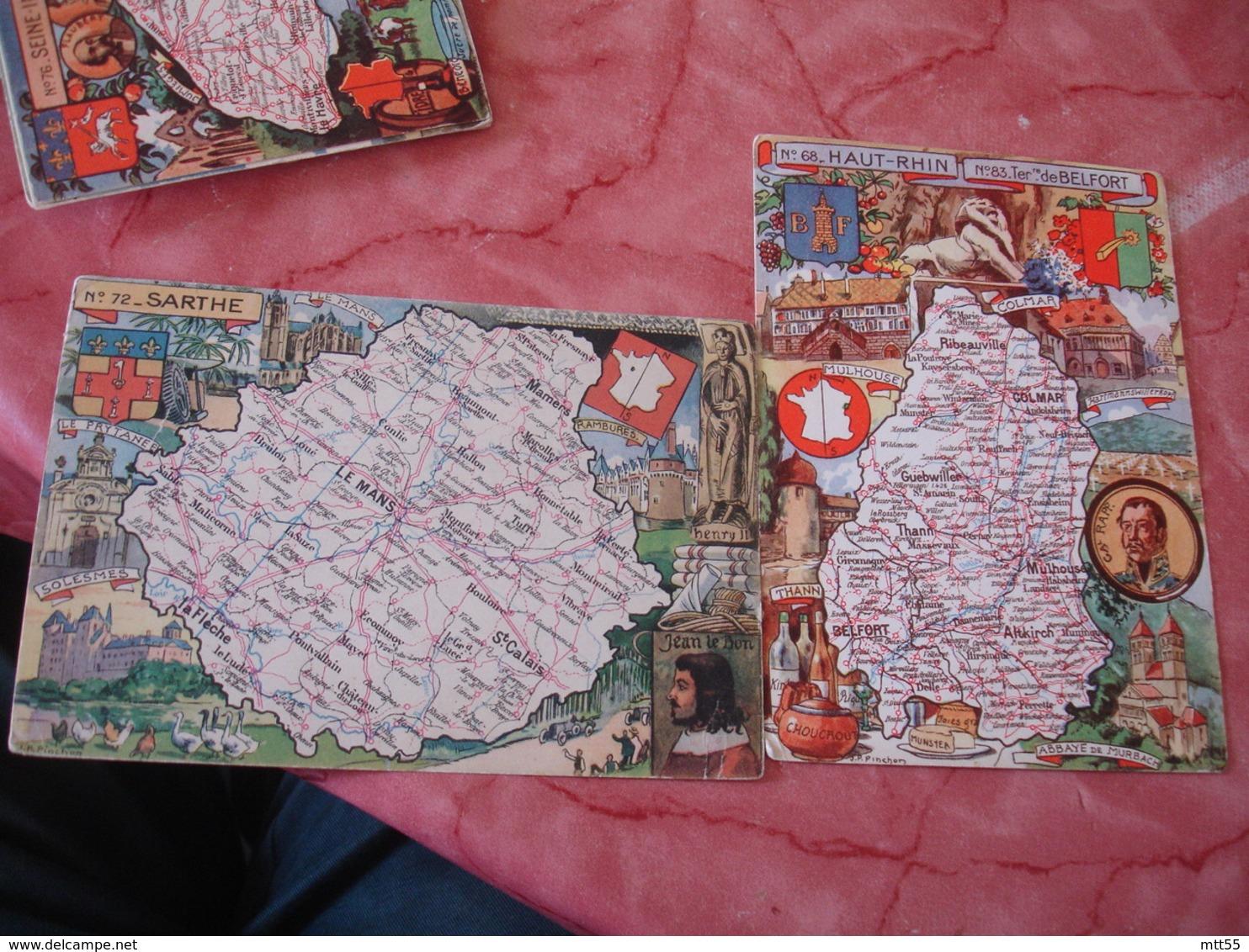 Lot De 6 Carte Edi Blondel  Rougery Departement Carte Production Seine Inferieure Deux Sevres Yonne  Sarthe Haut Rhin - France