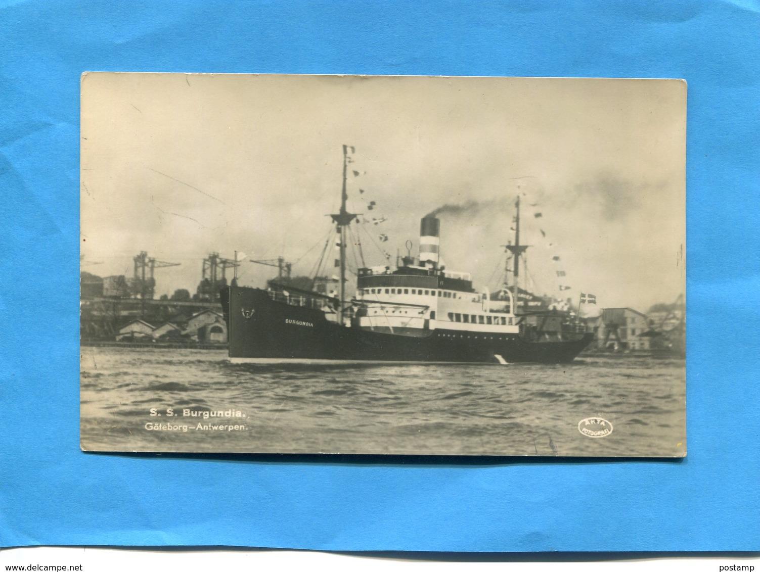 Paquebot-SS BURGUNDIA- -port De  Göteborg-a Voyagé En 1938  -édition Arta - Paquebots