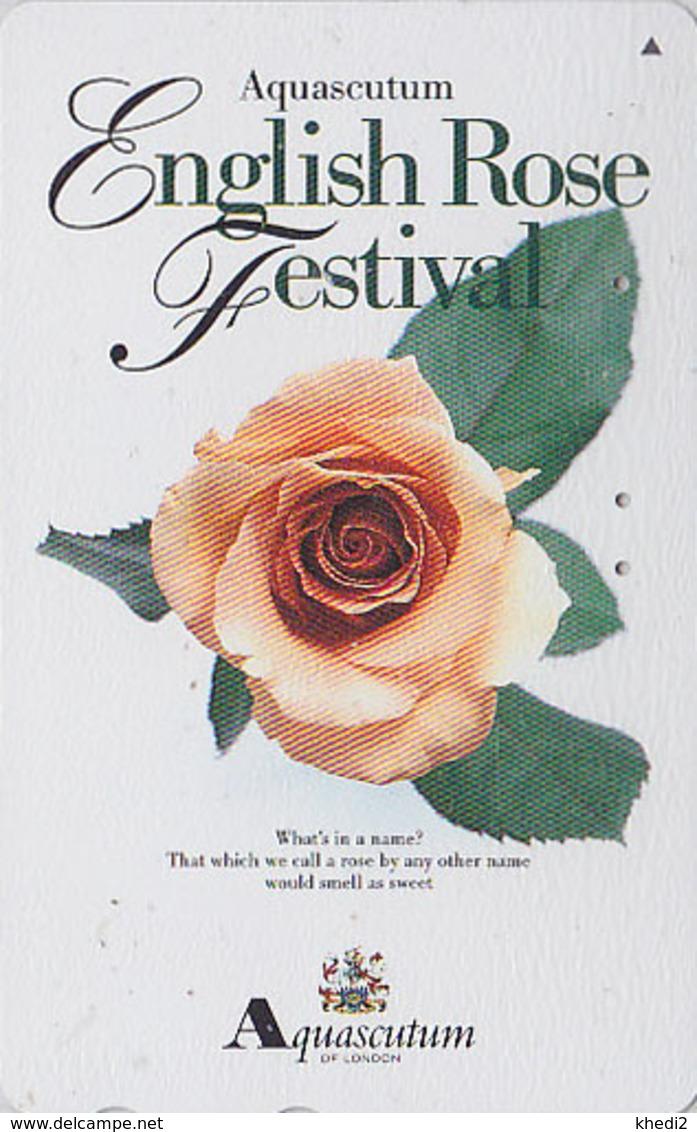 Télécarte Japon / 110-016 - AQUASCUTUM OF LONDON / England - FLEUR ROSE - ENGLISH FESTIVAL Japan Phonecard 134 - Fleurs