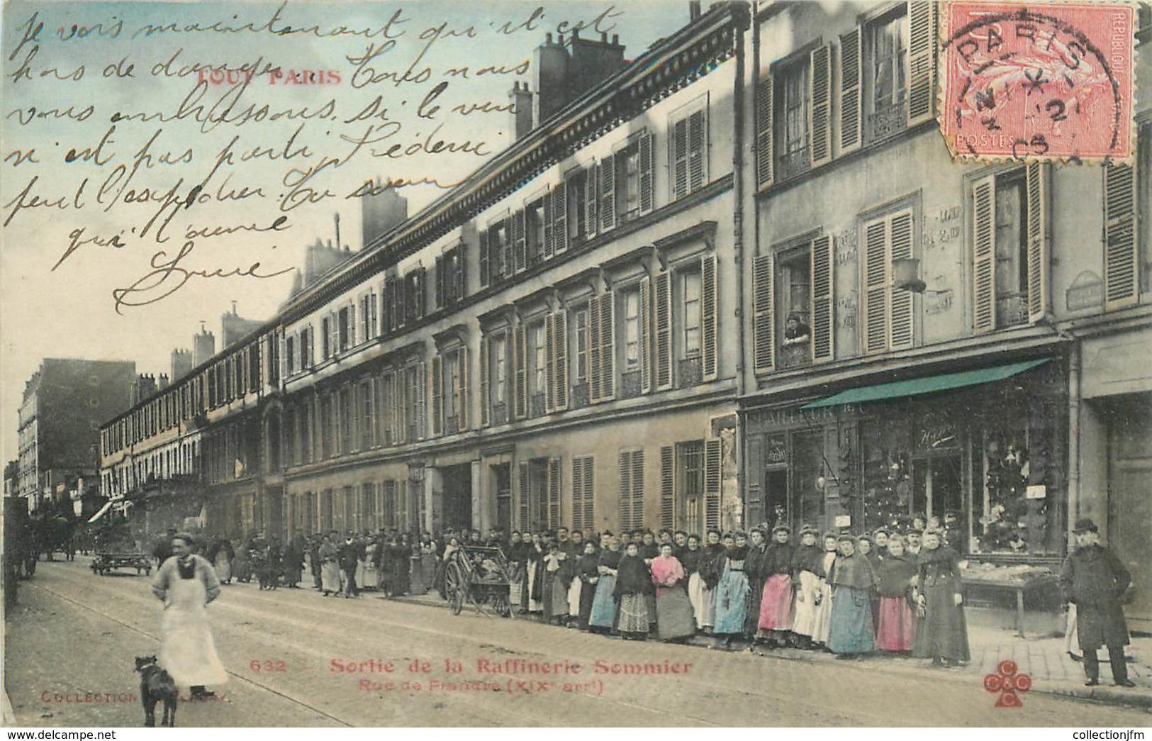 """CPA FRANCE 75020 """"Paris, Sortie De La Raffinerie Sommier, Rue De Flandre"""" / Collection TOUT PARIS / COLORISÉE - Arrondissement: 19"""