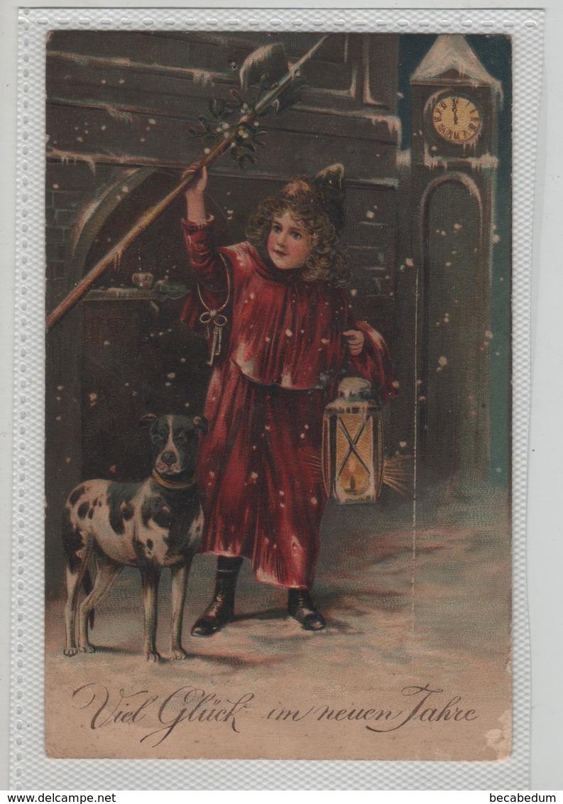 Viel Gluck Im Neuen Jahre 1910 Enfant Et Son Chien  Carte Gaufrée Carte écrite à Witschardt à Coulommiers - Neujahr