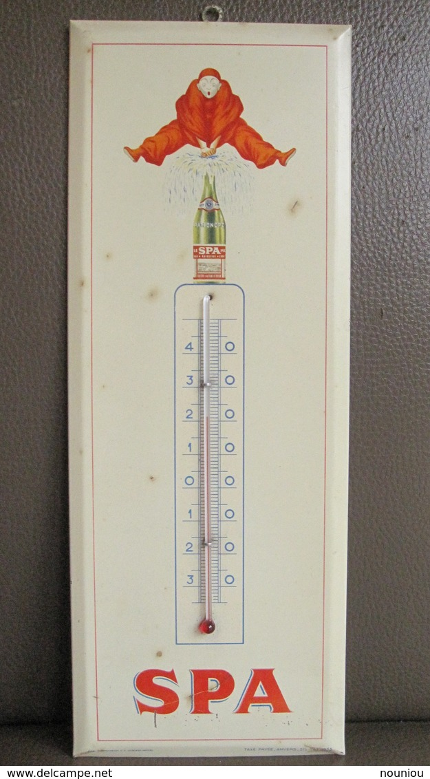 Rare Thermomètre Publicitaire En Tôle SPA Monopole Rouge - Etablissement Schuybroek Hoboken-Anvers - Plaque - Otros