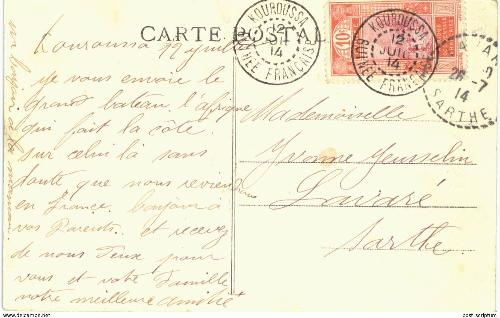Thème - Bateau - Afrique (compagnie Des Chargeurs Réunis) - Carte Expédiée De Kouroussa (guinée Française) - Paquebots