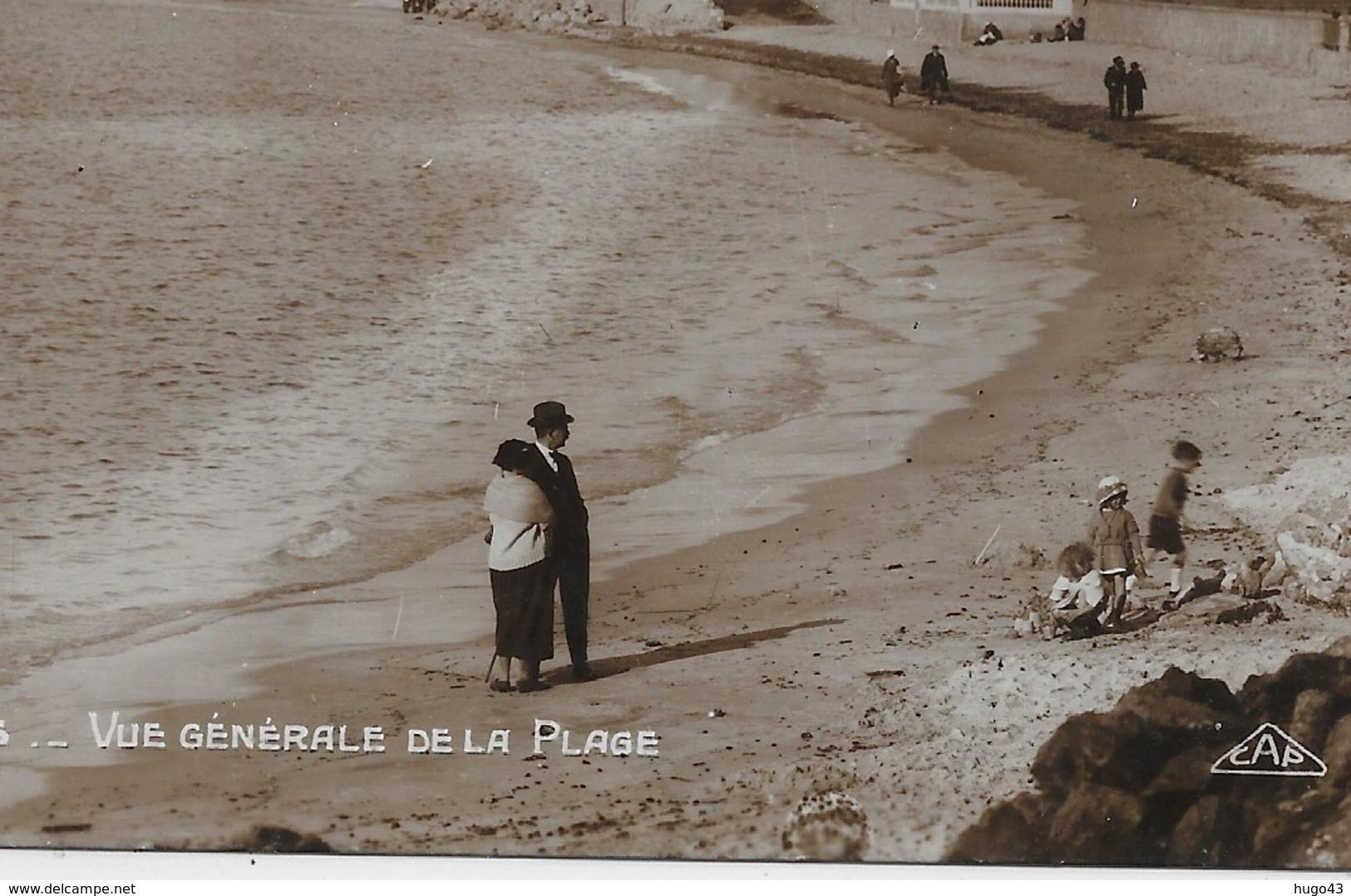JUAN LES PINS - N° 1 - VUE GENERALE DE LA PLAGE - CPA AVEC GLACAGE NON VOYAGEE - Antibes