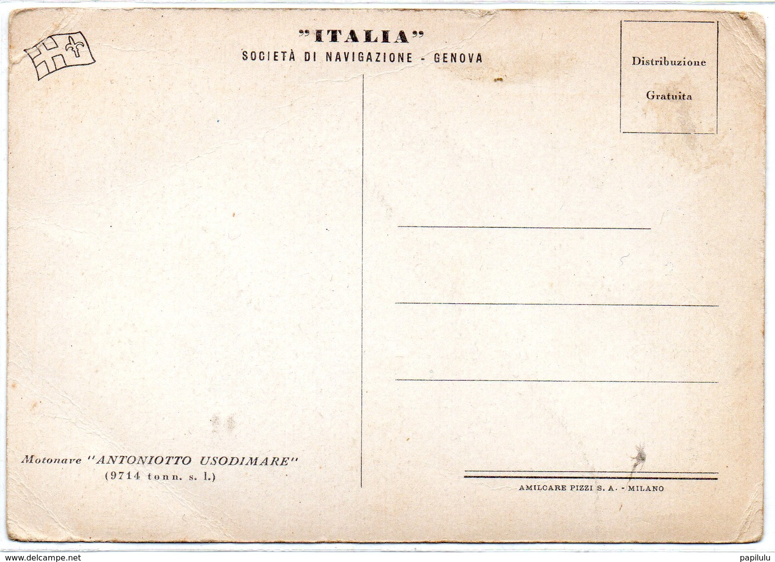 TRANSPORTS 408 : Carte Photo ; Le Antoniotto Usodimare 1942 ( Motonave , Bateau A Moteur ) - Paquebots
