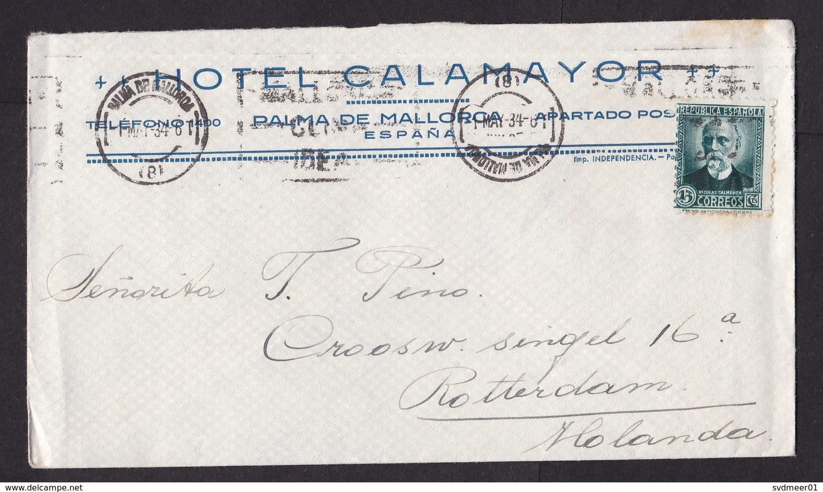 Spain: Cover To Netherlands, 1934, 1 Stamp, Hotel Calamayor, Palma De Mallorca (minor Discolouring) - 1931-Aujourd'hui: II. République - ....Juan Carlos I