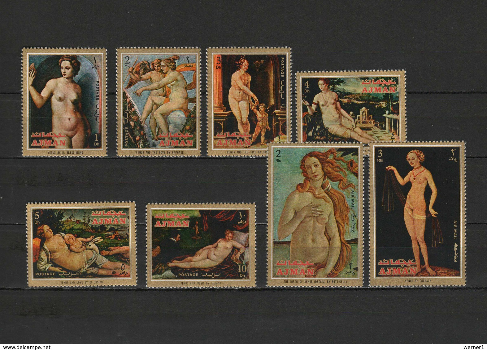 Ajman 1971 Paintings Titian - Tiziano, Raphael, Cranach Etc. Set Of 8 MNH - Andere