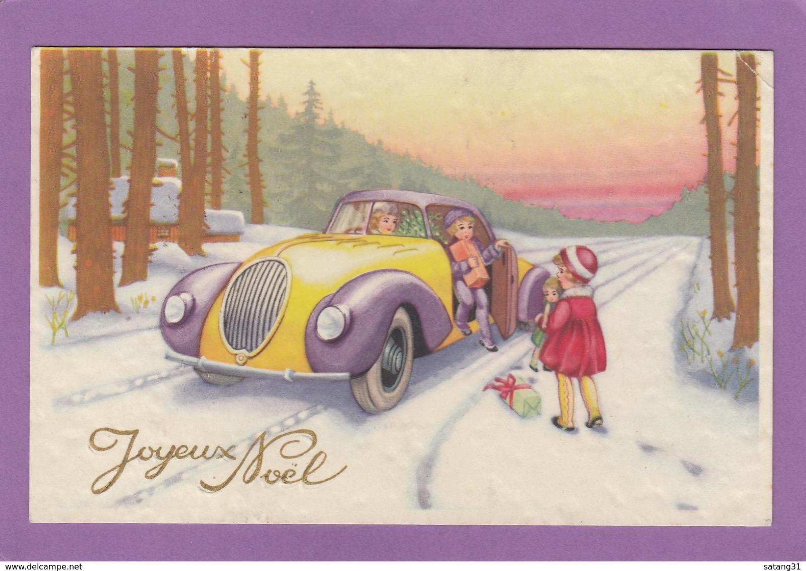 JOYEUX NOEL DE MONACO 1938,ENFANTS AVEC CADEAUX ET UNE POUPÉE DANS VOITURE,DANS FORTE. - Noël