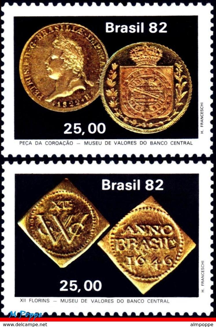 Ref. BR-1816-17 BRAZIL 1982 MONEY ON STAMPS, CENTRAL BANK, COINS,, NUMISMATICS, MI# 1917-18, SET MNH 2V Sc# 1816-1817 - Ungebraucht