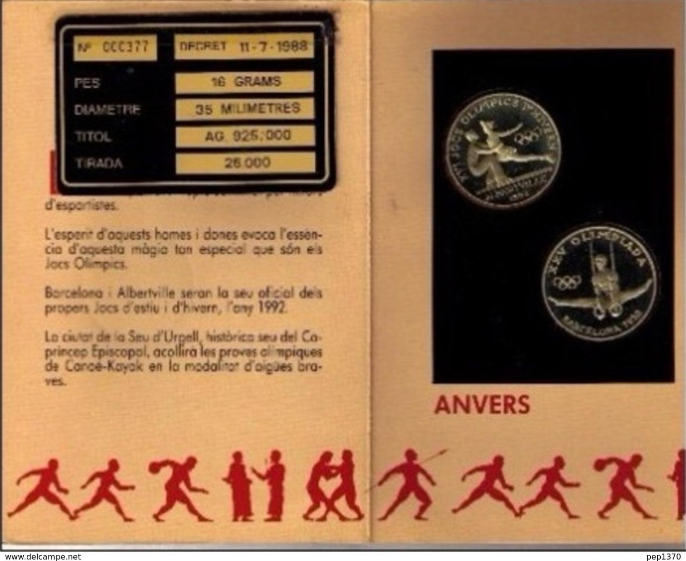 ANDORRA 1992 - BLISTER 2 MONEDAS DE 20 DINERS DE PLATA (SILVER) DEDICADAS A ALBERTVILLE Y BARCELONA '92 - KM#  47 - 48 - Andorra