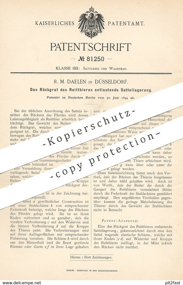 Original Patent - R. M. Daelen , Düsseldorf , 1894 , Sattel Zur Entlastung Des Rückgrats Vom Pferd   Reitsport , Pferde - Historische Dokumente