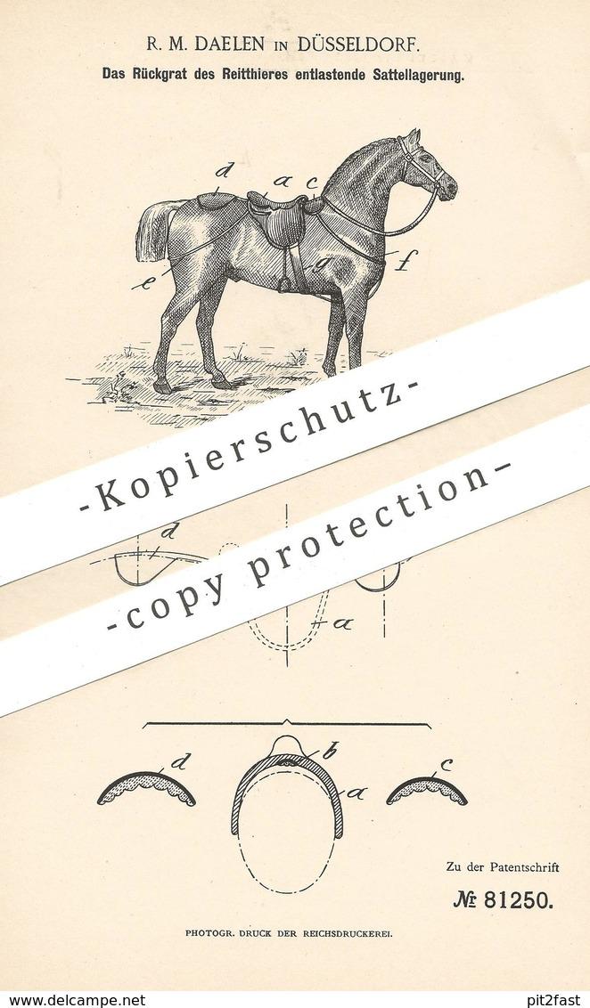 Original Patent - R. M. Daelen , Düsseldorf , 1894 , Sattel Zur Entlastung Des Rückgrats Vom Pferd | Reitsport , Pferde - Historische Dokumente