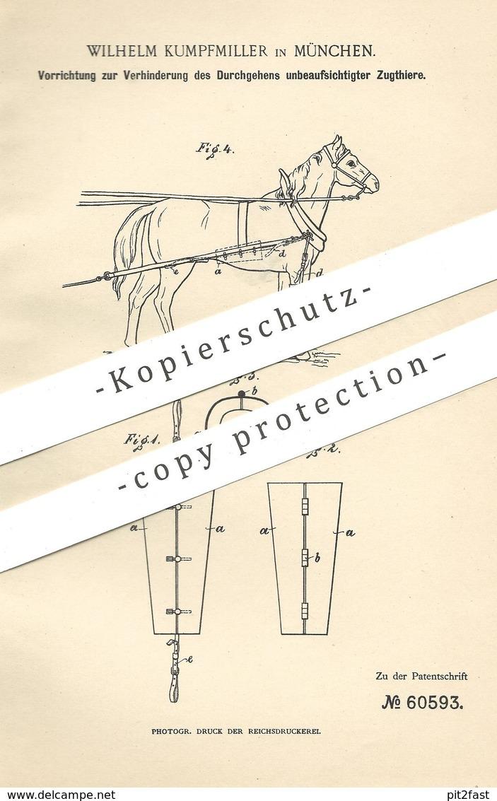 Original Patent - Wilhelm Kumpfmiller , München , 1891 , Verhinderung Des Durchgehens Der Zugtiere , Pferd , Pferde !!! - Historische Dokumente